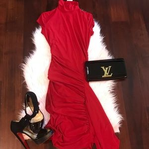 Mock Neck Red Dress